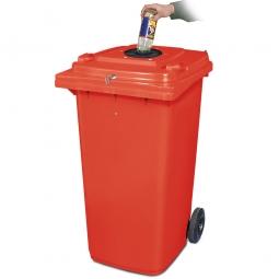 Verschließbarer Müllbehälter mit Flascheneinwurf und Gummirosette, 240 Liter, rot