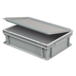 Scharnierdeckel für Euro-Stapelbehälter, LxB 400x300  mm, grau, Gewicht 450 g