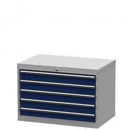 System-Schubladenschrank mit 5 Schubladen, BxTxH 900x575x620 mm, lichtgrau/enzianblau