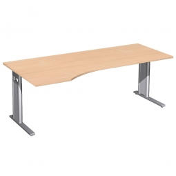 Schreibtisch PREMIUM höhenverstellbar, links, Buche/Silber, BxTxH 2000x800/1000x680-820 mm
