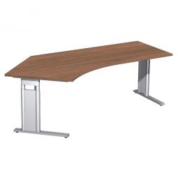 Schreibtisch PREMIUM höhenverstellbar, 135° links, Nussbaum/Silber, BxTxH 2166x800/1130x680-820 mm