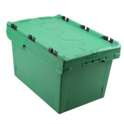 Universal Klappdeckelbox, verplompbar, LxBxH 600 x 400 x 350 mm, 58 Liter, grün