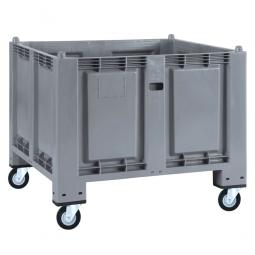 Palettenbox mit 4 Gummi-Lenkrollen Ø 120 mm, grau, 1200x800x1000 mm, Boden/Wände geschlossen
