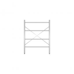 Aluminiumregal  mit 4 Gitterböden, Stecksystem, BxTxH 1200 x 500 x 1600 mm, Nutztiefe 480 mm