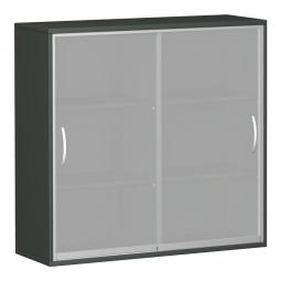 Glas-Flügeltürenschrank PRO, 3 Ordnerhöhen, graphit, BxTxH 800x425x1152 mm