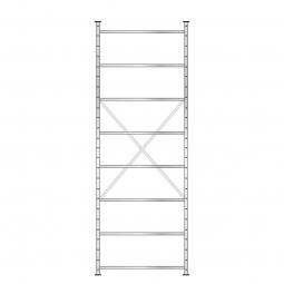 Fachbodenregal mit 8 Böden, Stecksystem, Grundregal, doppelseitige Ausführung, BxTxH 1070 x 630 (2x315) x 3000 mm, Oberfläche glanzverzinkt