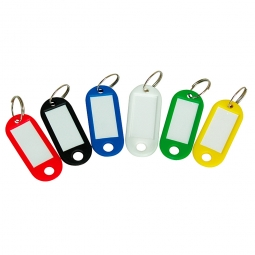 Schlüsselanhänger aus Kunststoff, Je 1x rot, grün, schwarz, gelb, blau und weiß