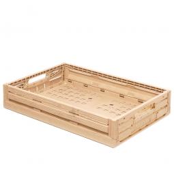 Klappbox im Holzdekor, geschlitzt, PP, LxBxH 600 x 400 x 115 mm, 23 Liter, beige