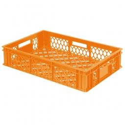 Bäckerkiste, LxBxH 600 x 400 x 130 mm, Wände und Boden durchbrochen, Gewicht 1,40 kg, orange