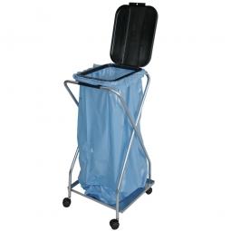 Wertstoffsammler fahrbar, HxBxT 920x470x440 mm, mit 1 Deckel eckig, für 1x 70 o. 120 Liter-Müllsack