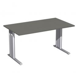 Schreibtisch PREMIUM höhenverstellbar, Rechteck, Graphit/Silber, BxTxH 1600x800x680-820 mm