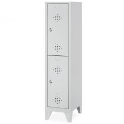 Stahl-Fächerschrank mit Füßen und Drehriegelverschluss, 2 Fächer, BxTxH  420 x 500 x 1850 mm