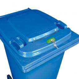 Müllbehälter mit Dokumenteneinwurf, abschließbar, BxTxH 580 x 740 x 1070 mm, 240 Liter, Farbe blau