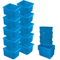 10x Dreh- und Stapelbehälter, Spar-Set, LxBxH 455 x 360 x 245 mm, 32 Liter, blau
