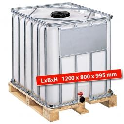 IBC-Container, 600 Liter, auf Holzpalette, LxBxH 1200x800x995 mm, weiß