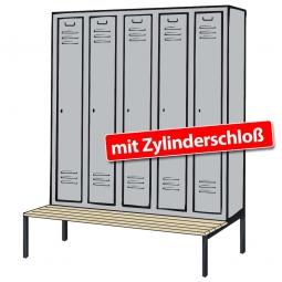 Kleiderspind mit untergebauter Sitzbank und Zylinderschloss, HxBxT 2090x1480x500/815 mm