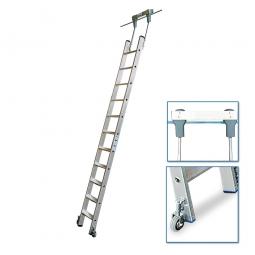 Aluminium-Stufenregalleiter, fahrbar, Mit 11 Stufen, senkrechte Einhängehöhe von 2840 bis 3070 mm