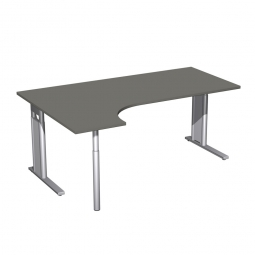 Schreibtisch PREMIUM, Schrankansatz links, Graphit/Silber, BxTxH 1800x800/1200x680-820 mm