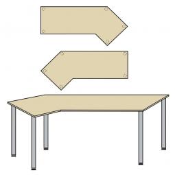EDV-Tisch mit Quadratrohr-Füßen, Farbe silber, Ahorn, BxTxH 2100x800/1300x680-760 mm