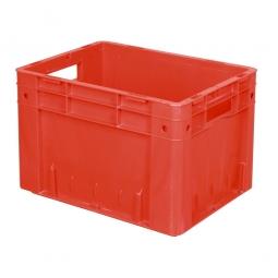 Schwerlast-Eurobehälter geschlossen, PP, LxBxH 400x300x270 mm, 23 Liter, 2 Durchfassgriffe, rot