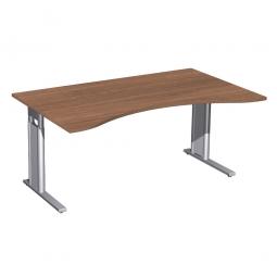 Schreibtisch PREMIUM höhenverstellbar, Nussbaum/Silber, BxTxH 1600x800/1000x680-820 mm