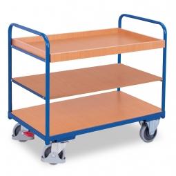 Etagenwagen mit 1 Tablett und 2 Böden, LxBxH 910 x 500 x 950 mm, Tragkraft 250 kg