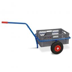 Handwagen mit Kunststoffkorb, H 240 mm, grau, LxBxH 1250 x 640 x 660 mm, Tragkraft 200 kg