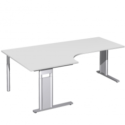 Schreibtisch PREMIUM, Tischansatz links, Lichtgrau/Silber, BxTxH 2000x800/1200x680-820 mm