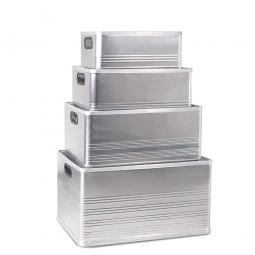 Aluminium-Kästen-Set E, je 1x 29, 50, 79, 118 Liter