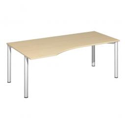 PC-Tisch, links Komfort, Gestell silber, Dekor Ahorn, BxTxH 1800x1000x720 mm