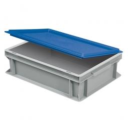 Scharnierdeckel für Euro-Stapelbehälter, LxB 400x300 mm, blau, Gewicht 450 g