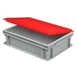 Scharnierdeckel für Euro-Stapelbehälter, LxB 400x300 mm, rot, Gewicht 450 g