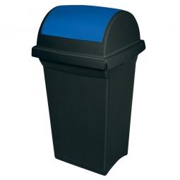 Schwingdeckel-Abfallbehälter blau / anthrazit, LxBxH 430 x 390 x 760 mm, 50 Liter, Polypropylen-Kunststoff