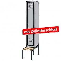 Kleiderspind mit untergebauter Sitzbank und Zylinderschloss, HxBxT 2090x320x500/815 mm