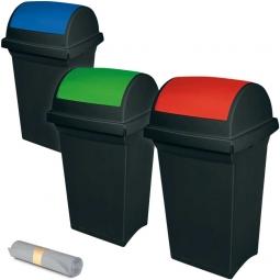3x Schwingdeckel-Abfallbehälter Spar-Set, LxBxH 430 x 390 x 760 mm, + GRATIS: 50 Müllsäcke