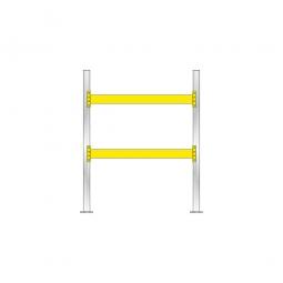 Palettenregal für 6 Europaletten, Tragbalkenebenen mit 38 mm Spanplattenböden, Fachlast 2200 kg/Tragbalkenpaar, BxTxH 2025x1100x2500 mm