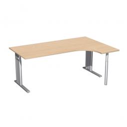 Schreibtisch PREMIUM, Schrankansatz rechts, Buche/Silber, BxTxH 1800x800/1200x680-820 mm