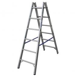 Alu-Sprossen-Doppelleiter mit 2x 6 Sprossen, Leiterhöhe 1700 mm, max. Arbeitshöhe 3300 mm, Gewicht 6,8 kg