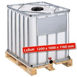 IBC-Container, 1000 Liter, auf Holzpalette, LxBxH 1200 x 1000 x 1160 mm, weiß