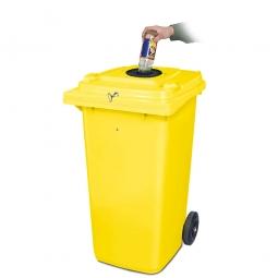 Verschließbarer Müllbehälter mit Flascheneinwurf und Gummirosette, 120 Liter, gelb