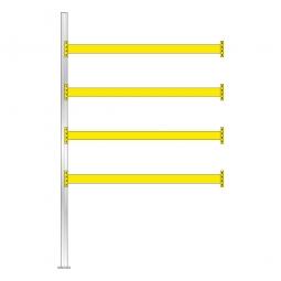 Paletten-Anbauregal für 15 Europaletten, Tragbalkenebenen mit 38 mm Spanplattenböden, Fachlast 1800 kg/Tragbalkenpaar, BxTxH 2785 x 1100 x 4500 mm