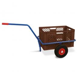 Handwagen mit Kunststoffkorb, H 320 mm, braun, LxBxH 1250 x 640 x 660 mm, Tragkraft 200 kg