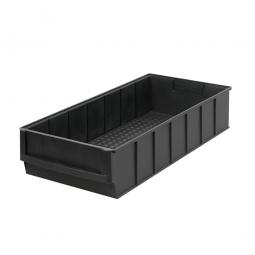 Regalkasten, schwarz, LxBxH 400 x 183 x 81 mm, Polypropylen-Kunststoff (ESD), elektrisch leitfähig