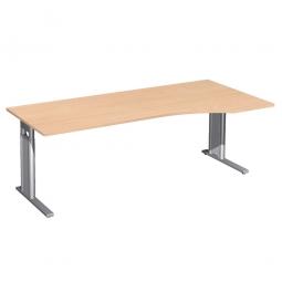 Schreibtisch PREMIUM höhenverstellbar, rechts, Buche/Silber, BxTxH 2000x800/1000x680-820 mm