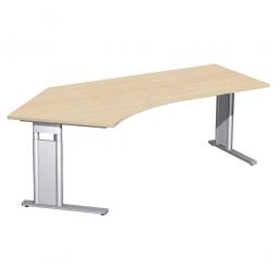 Schreibtisch PREMIUM höhenverstellbar, 135° links, Ahorn/Silber, BxTxH 2166x800/1130x680-820 mm