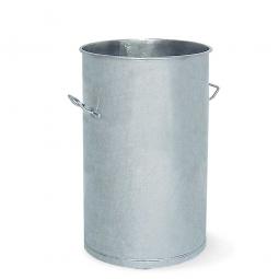 Stahl-Mülltonne, Volumen 80 Liter, feuerverzinkt, HxØ 755x400 mm, 2 Tragegriffe