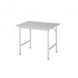 Arbeitstisch mit Melaminharz-Tischplatte, BxTxH 1000x800x800-850 mm, Gestell lichtgrau RAL 7035