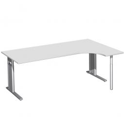 Schreibtisch PREMIUM, Schrankansatz rechts, Lichtgrau/Silber, BxTxH 2000x800/1200x680-820 mm