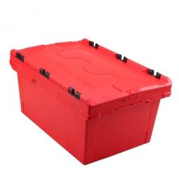 Universal Klappdeckelbox, verplompbar, LxBxH 600 x 400 x 200 mm, 29 Liter, rot