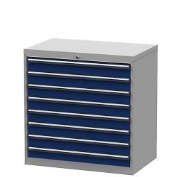 System-Schubladenschrank mit 8 Schubalden, BxTxH 900x575x920 mm, lichtgrau/enzianblau
